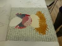 Wandbehang Hühner